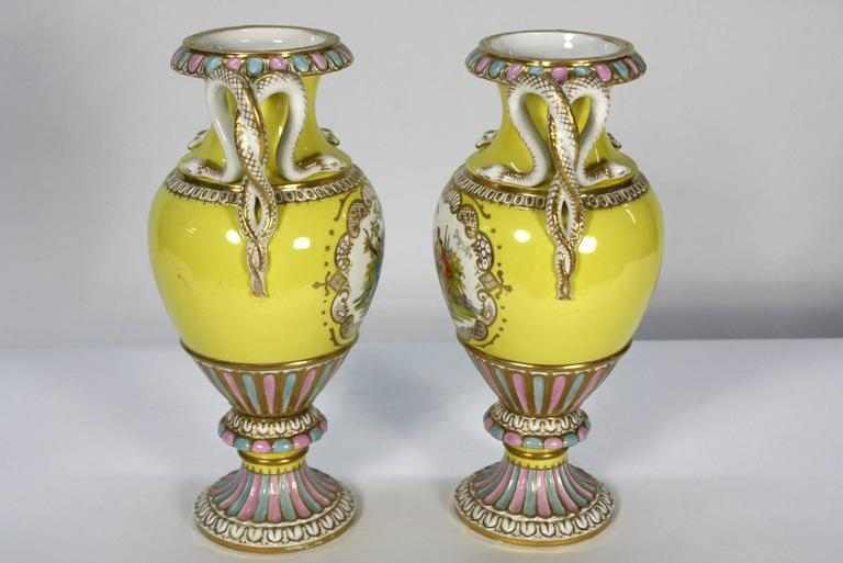 Neoclassical Pair of Meissen Porcelain Vases with Snake Handles For Sale