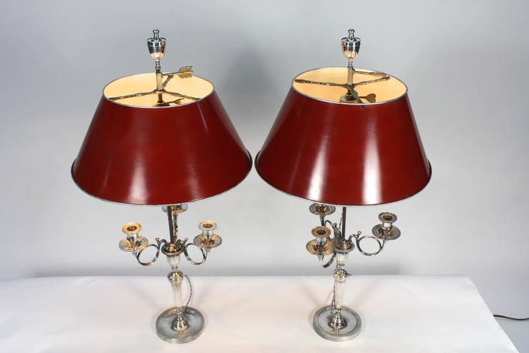 Louis XVI Pair of Silvered-Bronze Hunting Horn Candelabra Lamps For Sale