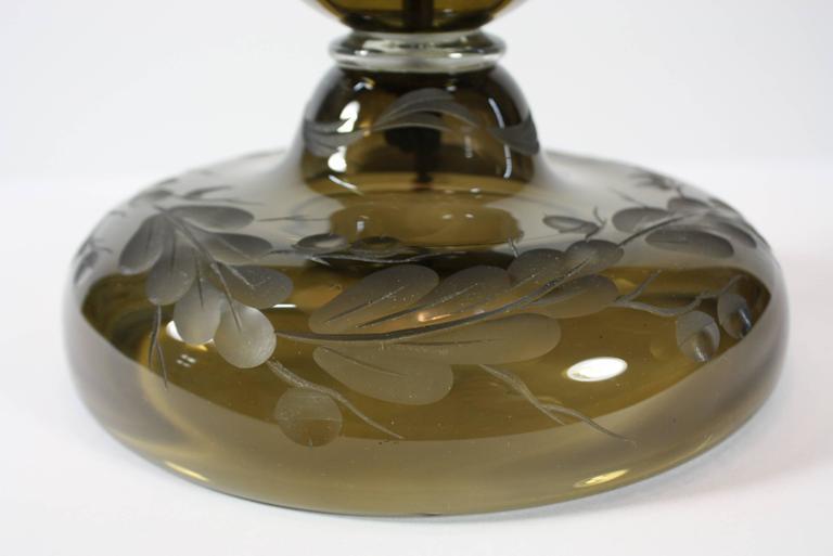 English Cut Crystal Oak Leaf Patterned Lamp 8