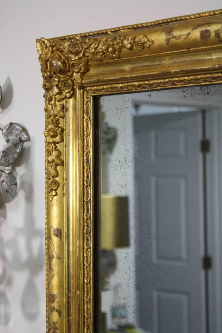 French Charles X Period Giltwood Mirror For Sale 1