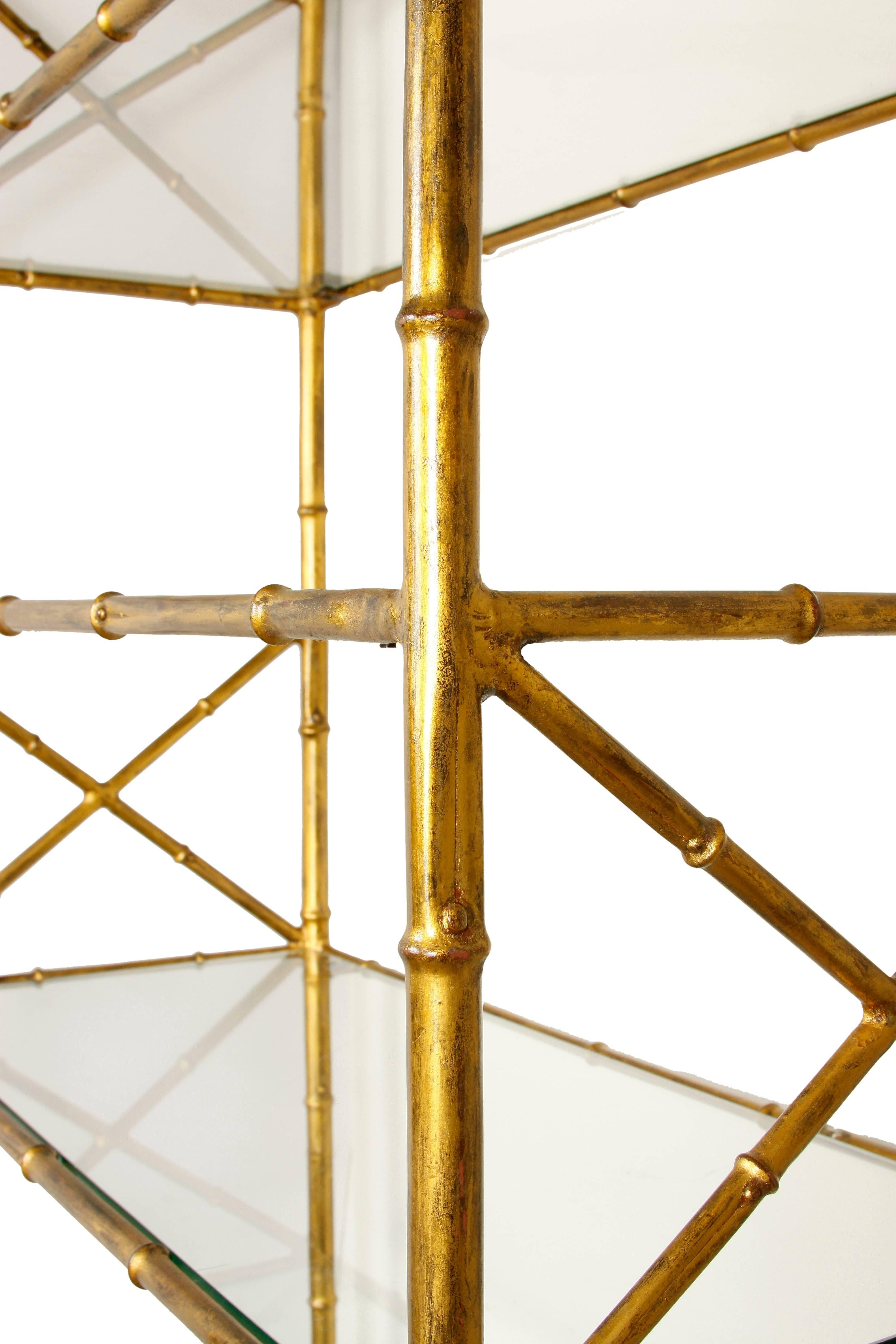 A Nice Looking And Versatile Pair Of Gilt Metal Faux Bamboo étagères With  Glass Shelves.
