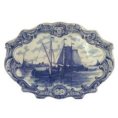 18th Century Oval Delft Wall Plaque