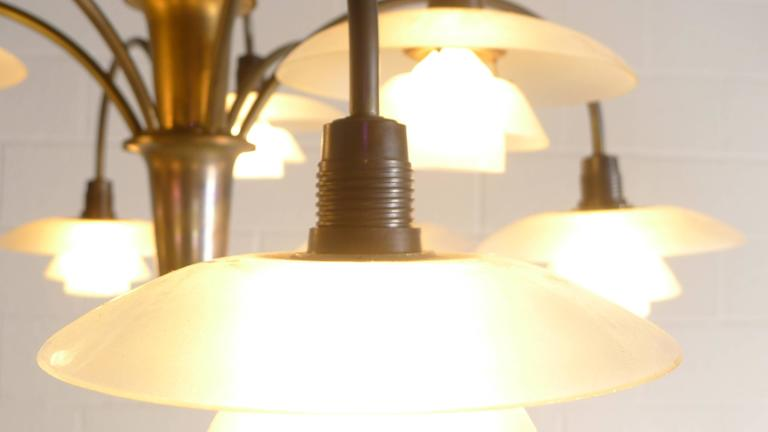 Danish Poul Henningsen Early Nine Branch Chandelier For Sale