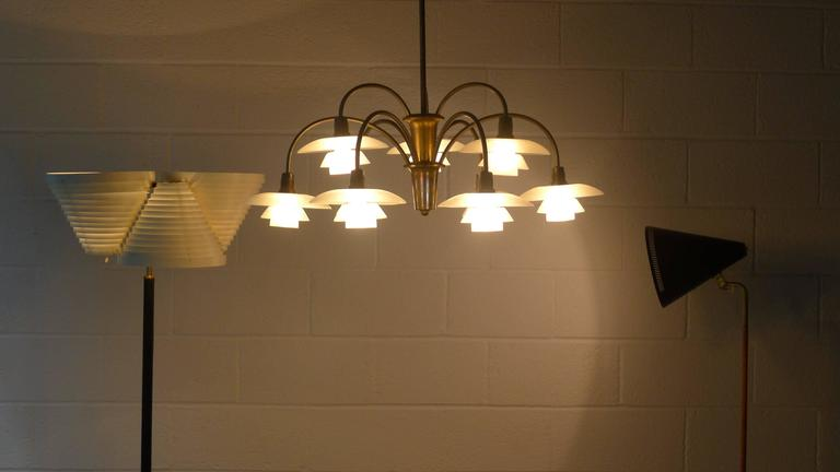 Mid-20th Century Poul Henningsen Early Nine Branch Chandelier For Sale