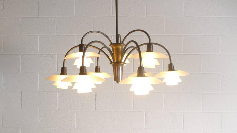 Poul Henningsen Early Nine Branch Chandelier For Sale 3