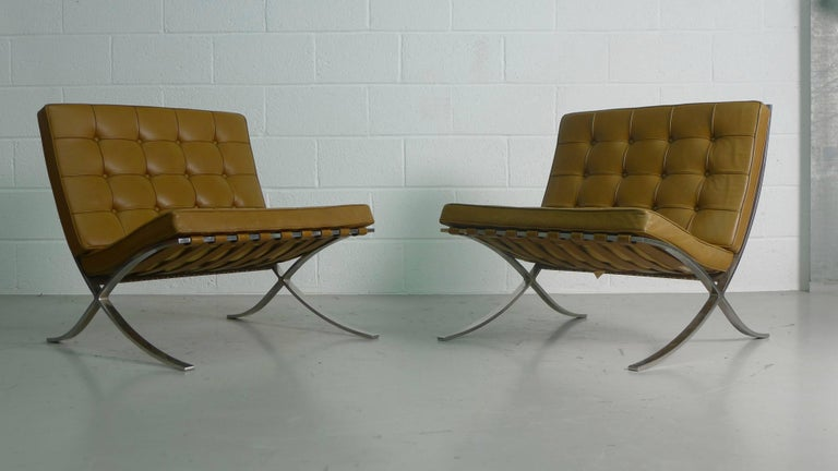 American Mies van Der Rohe; Vintage Barcelona Chairs with Knoll Labels, circa 1960s  For Sale