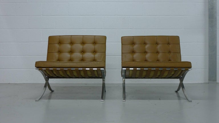 Mid-Century Modern Mies van Der Rohe; Vintage Barcelona Chairs with Knoll Labels, circa 1960s  For Sale