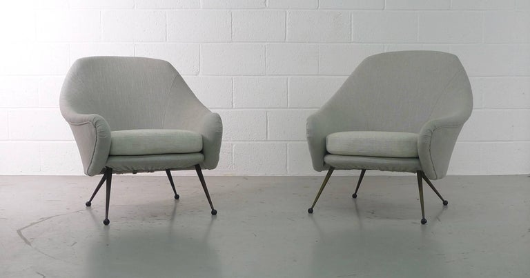Marco Zanuso Pair of Martingala Armchairs for Arflex, Italy, 1950s In Good Condition For Sale In Wargrave, Berkshire