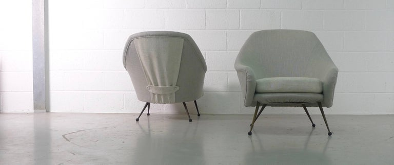 Mid-Century Modern Marco Zanuso Pair of Martingala Armchairs for Arflex, Italy, 1950s For Sale