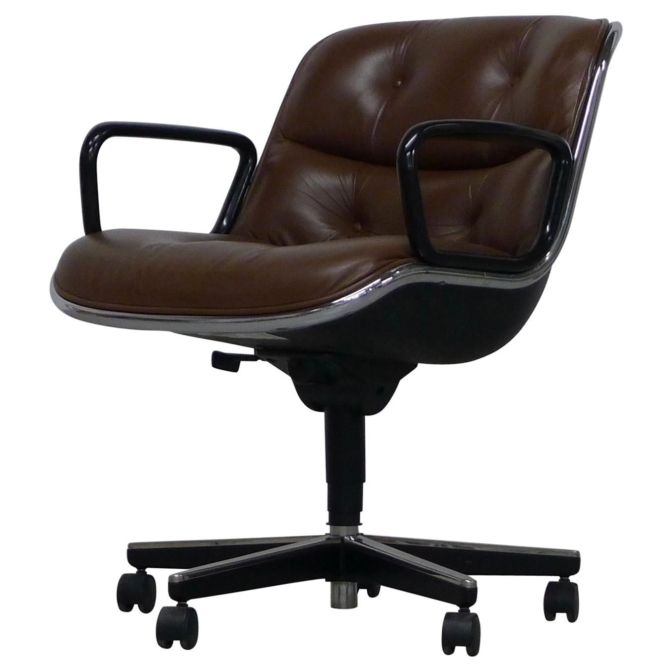 Charles Pollock Office Chairs In Brown Leather, Knoll Labels For Sale