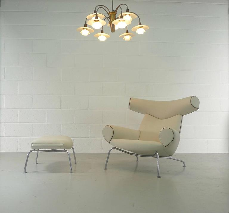 Late 20th Century Hans Wegner Ox and Ottoman For Sale