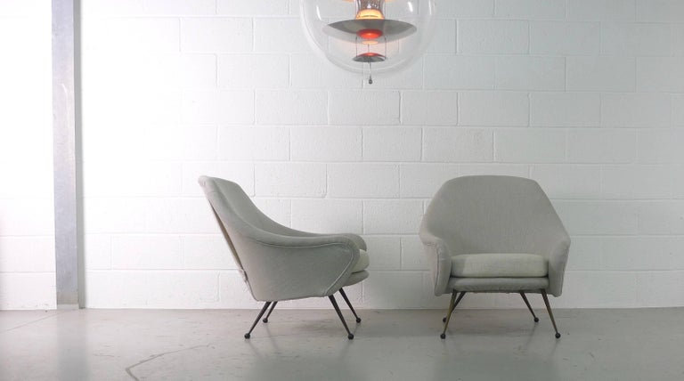 Mid-20th Century Marco Zanuso Pair of Martingala Armchairs for Arflex, Italy, 1950s For Sale