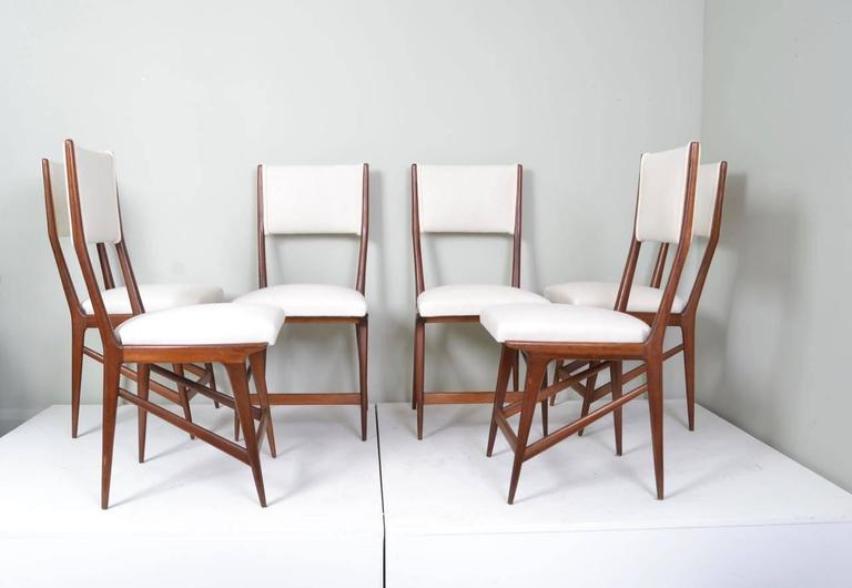 Set Of Six Walnut And Calico Upholstered Dining Chairs Designed In The  Style Of Carlo Di