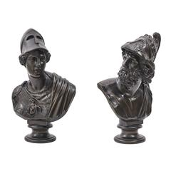 Pair of Italian Bronze Busts of Pericles and Athena, circa 1880