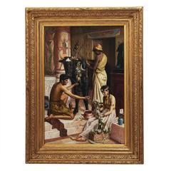 Orientalist Painting 'Adoring the Apis Bull' by Jean Baptiste Coene, 1889