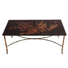 French Chinoiserie Lacquered Coffee Table, circa 1950