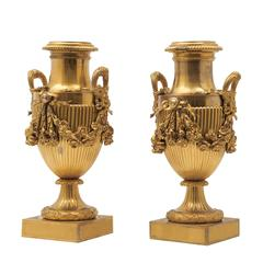 Pair of French Ormolu Neoclassical Urns, circa 1850
