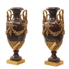 Pair Large Louis XVI Style Rouge Griotte Marble Urns, circa 1890