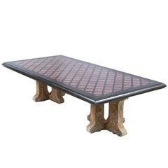 Grand Tour Style Marble and Porphyry Low Table with Limestone Bases, circa 1960