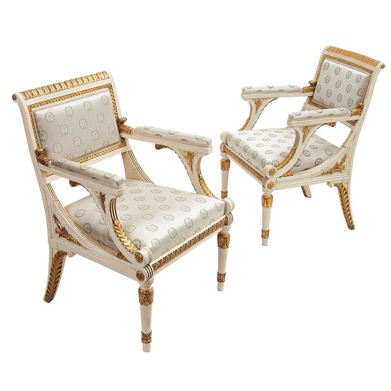Pair of Italian Neoclassical Gilt Armchairs, circa 1900