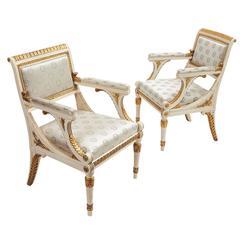 Pair of Italian Neoclassical Gilt Armchairs, circa 1900