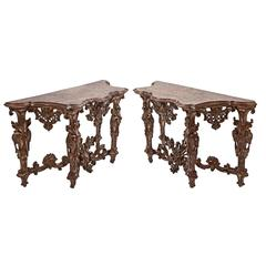 Pair of Italian Silvered Giltwood Faux Marble-Topped Early 18th Century Consoles