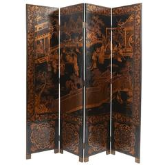 Chinese Four-Fold Gilt Lacquer Screen, circa 1900