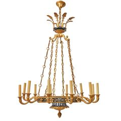 French Neoclassical Twelve-Light Chandelier, Probably Maison Jansen, circa 1950