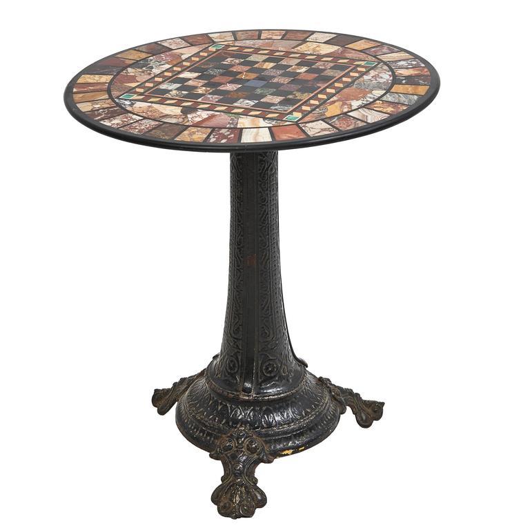 Italian specimen marble top games table on cast iron base for Cast iron table base marble top