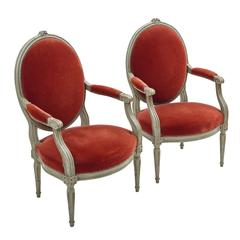 Pair of French Louis XVI Oval Back Armchairs, circa 1790
