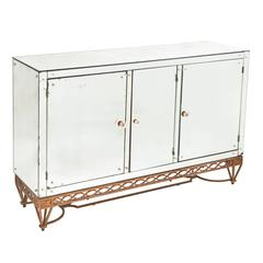 French Three-Door Mirrored Sideboard, circa 1940