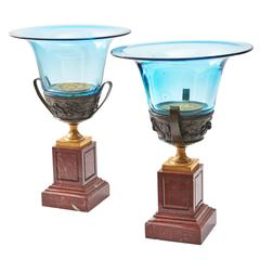 Pair of French Bronze and Blue Glass Campana Vases, circa 1920