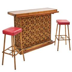French 1970s Gilt Iron and Teak Bar with Matching Stools