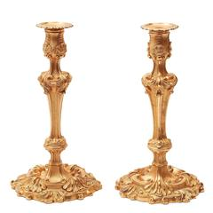 Pair of French Rococo Gilt Bronze Candlesticks