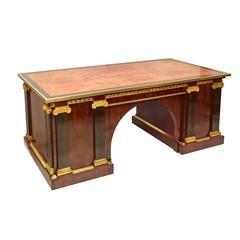 French Empire Mahogany and Ebony Neo-Grec Pedestal Desk, circa 1850