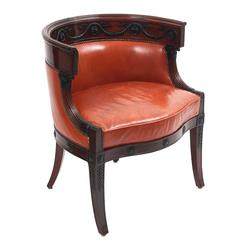 French Empire Mahogany Tub Desk Chair, circa 1850