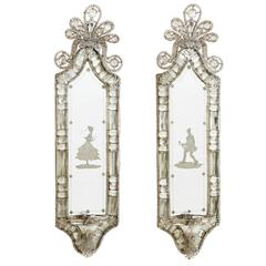 Pair of Venetian Engraved Mirrors, circa 1930