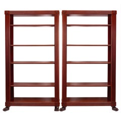 Pair of Regency Style Neoclassical Mahogany Shelves, circa 1950