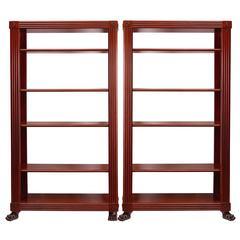 Pair of Regency Style Neoclassical Mahogany Shelves, circa 1950