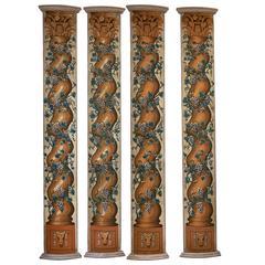 Set Four Louis XIV Needlework Pilasters, circa 1690
