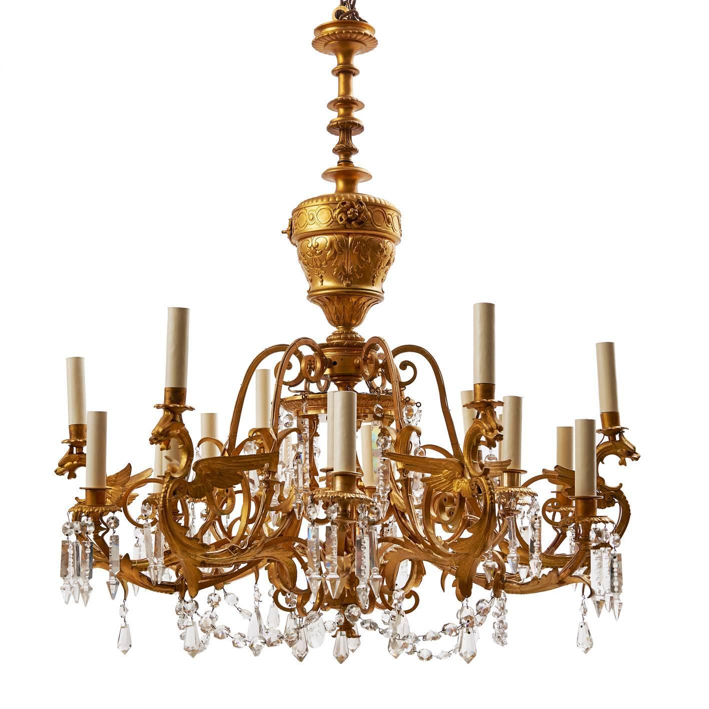 "American ""Dragon"" Gilt Bronze and Crystal Chandelier 19th"
