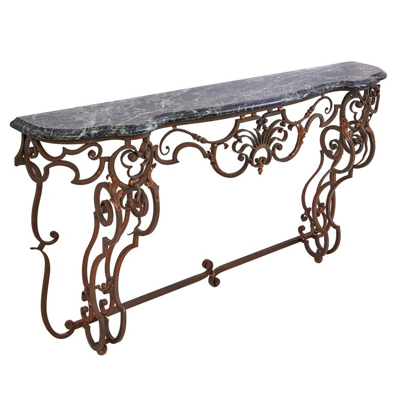 French Wrought Iron And Marble Console Table Circa 1890 For