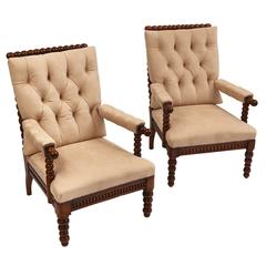 Pair of Danish Bobbin Turned Beech Armchairs, circa 1850