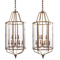 Pair of Oversized French Neoclassical Style Gilt Bronze Lanterns, circa 1950
