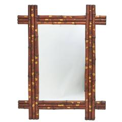 Japanese Bamboo Mirror with Gilt and Lacquer Decoration, circa 1900