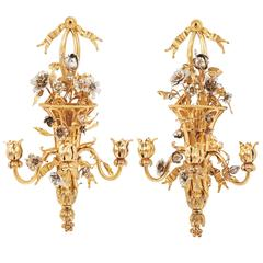 Pair of Gilt Bronze and Silvered 'Basket of Flowers' Wall Sconces, France