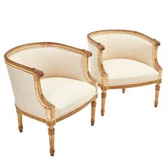 Pair of French Louis XVI Style Painted Tub Chairs, circa 1880