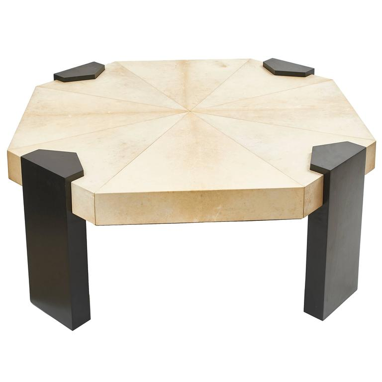 French Octagonal Parchment Top Coffee Table with Ebonized Legs, circa 1950