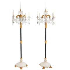 Pair of Unusual Neoclassical Floor Standing Candelabra France, Late 19th Century