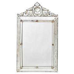 French Venetian Style Crested Mirror with Diamond Cut Panels, circa 1900